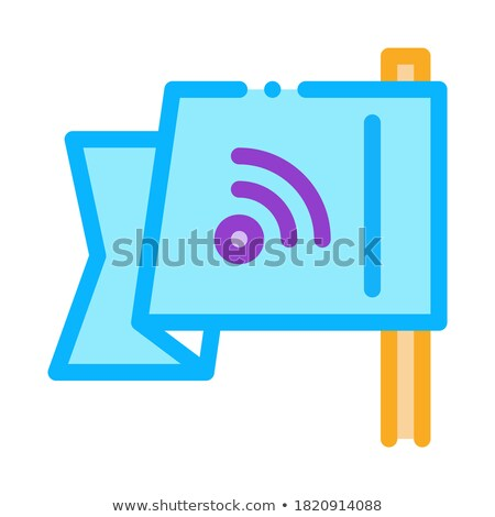 search engine optimization destination flag icon vector outline illustration Stock photo © pikepicture