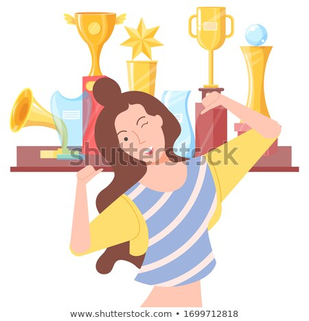 Winking Female and Golden Regards, Win Vector Stock photo © robuart