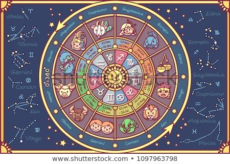 Zodiac Horoscope Cards With Icons Dates Stars And Symbols Stock fotó © VetraKori