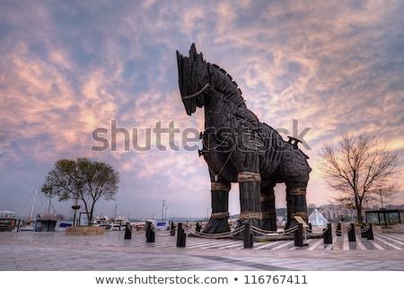 Houten trojaans paard donkere 3d illustration netwerk Stockfoto © limbi007