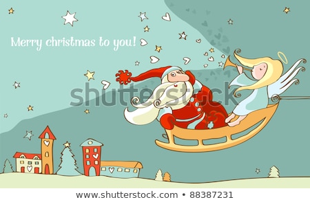 Santa Claus and christmas angel in sleigh. New year postcard Stock photo © Ecelop
