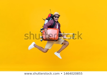 pronto · viajar · mala · óculos · carteira · jaqueta · de · couro - foto stock © spectral