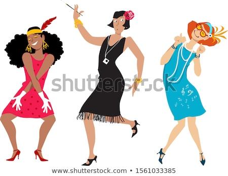 Kabaré hölgy jelmez szexi fekete szépség Stock fotó © adamr