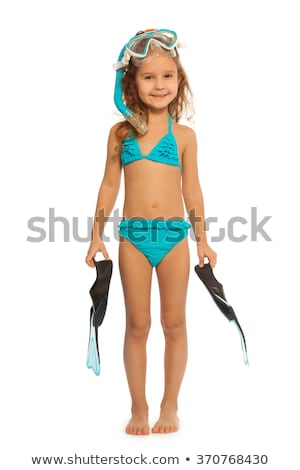 little girl with flippers mask and snorkel stock photo © photography33