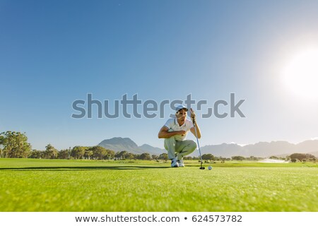 golfer crouched next to the hole stock photo © photography33