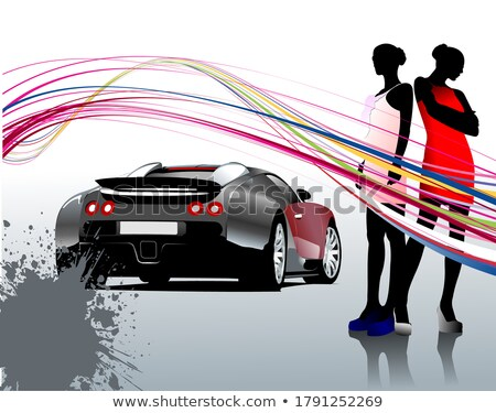 Car sedan and two girls composition. Vector illustration Stock photo © leonido