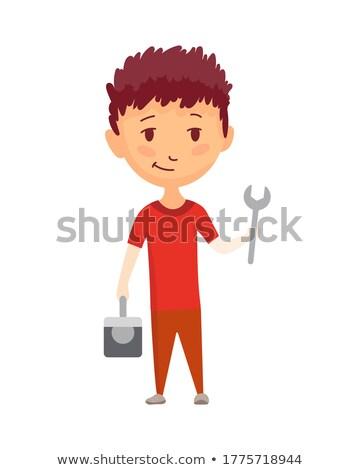 Trabalhador pesado caixa de ferramentas homem construção tecnologia Foto stock © photography33