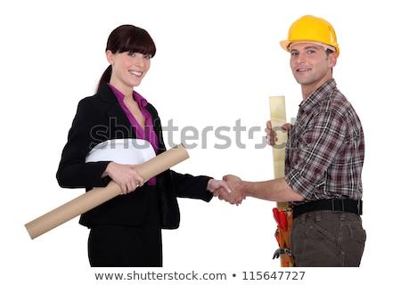 ремесленник деловая женщина рукопожатием бизнеса заседание строительство Сток-фото © photography33