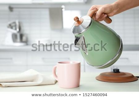 современных · чайник · изолированный · кофе · синий - Сток-фото © ozaiachin