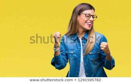 çekici genç kadın zafer gri elbise Stok fotoğraf © pablocalvog