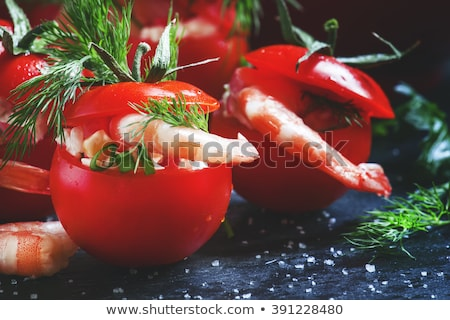 appetizer, stuffed tomato with shrimp Stock photo © M-studio