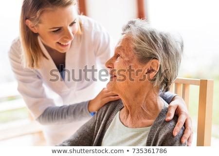 nővér · mér · vérnyomás · idős · beteg · nő - stock fotó © lighthunter