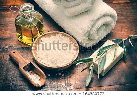 Deniz tuzu sabun aromatik çiçek bambu tıbbi Stok fotoğraf © IngridsI