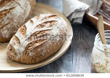 meel · metaal · schep · keukentafel · tarwe · witte - stockfoto © klsbear