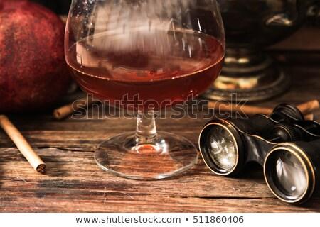 Antigo conhaque vidro reflexão comida vinho Foto stock © gsermek