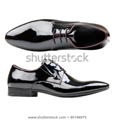 Black glossy man's shoes with shoelaces  Stock photo © natika