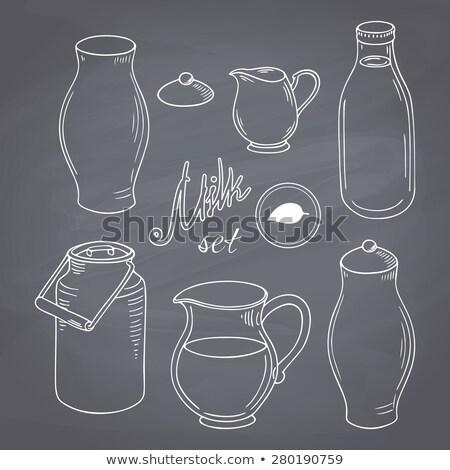Tejesflakon osztály fehér tej tele üveg Stock fotó © ambientideas