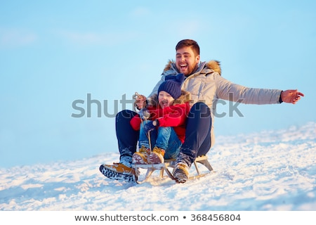 Young Father And Children In Snow With Sled Stock photo © monkey_business
