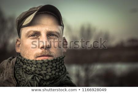 Soldado retrato preto exército segurança masculino Foto stock © shivanetua