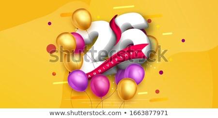 Foto stock: Rojo · globos · cinta · número · 26 · fiesta