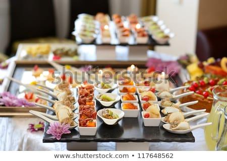 Tabel bereid bruiloft banket gerechten voedsel Stockfoto © carenas1