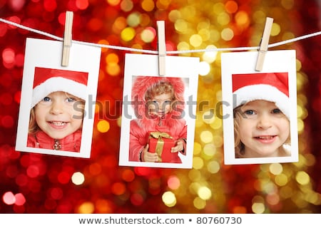 Christmas karty trzy Fotografia ramki natychmiastowy Zdjęcia stock © marimorena