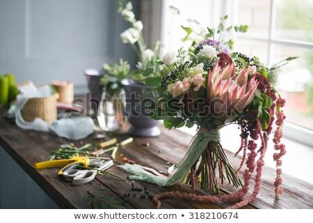 Foto stock: Florista · lugar · de · trabajo · frescos · flores · instagram · color