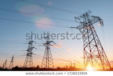 voltage electric pole at dusk Stock photo © OleksandrO