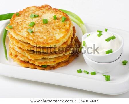 krumpli · palacsinták · tejföl · finom · fehér · tányér - stock fotó © rojoimages