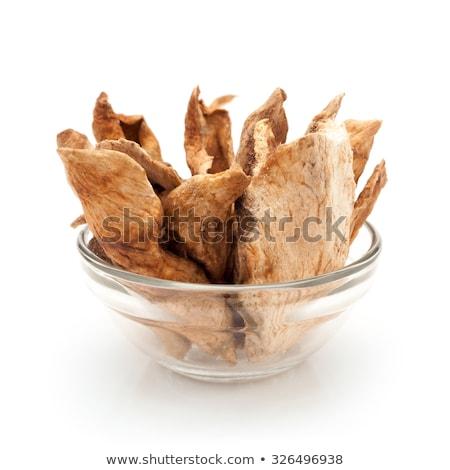 front view of bowl of organic sour dried mango stock photo © ziprashantzi