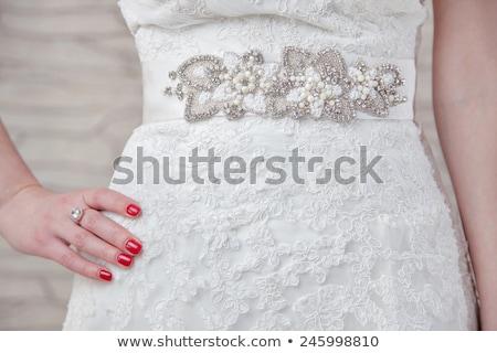 Trouwjurk gordel foto bruiloft liefde schoonheid Stockfoto © Nneirda