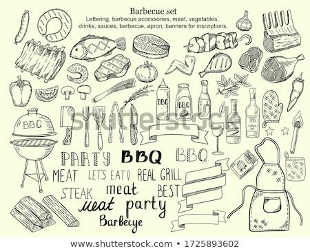болван · вектора · барбекю · рисованной · Элементы · колбаса - Сток-фото © netkov1