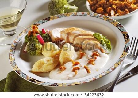 ストックフォト: 鶏 · クリーム · ソース · 胸 · 食品 · ディナー