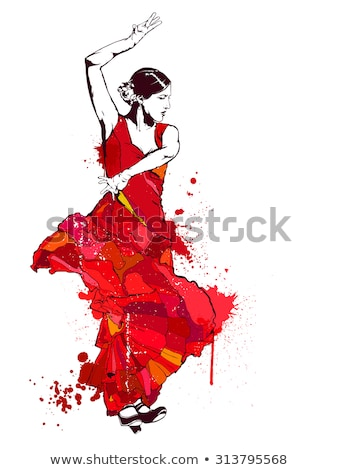 Stock fotó: Spanyol · lány · tánc · flamenco · illusztráció · rózsa