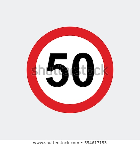 Stok fotoğraf: 80 Kmph Or Mph Driving Speed Limit Sign On Highway