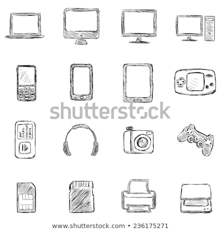 память карт эскиз икона вектора изолированный Сток-фото © RAStudio