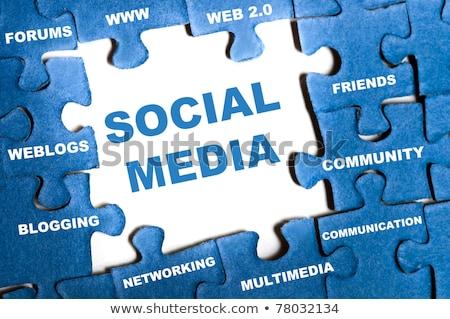 Puzzle szó közösségi média kirakó darabok építkezés technológia Stock fotó © fuzzbones0