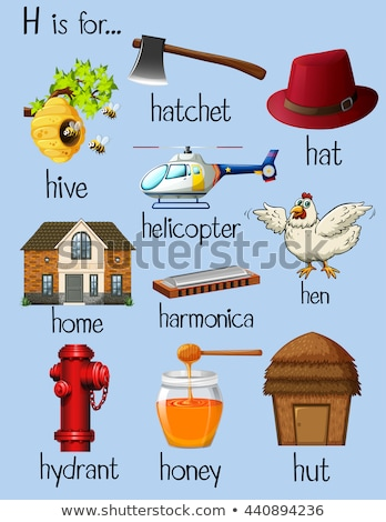 Flashcard alphabet H is for hut Stock photo © bluering