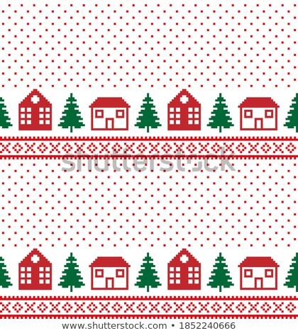 New year card, knitted xmas snowman, vector illustration Stock photo © carodi