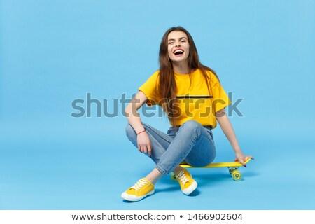 Сток-фото: �евочка-подросток, · сидящая · в · студии