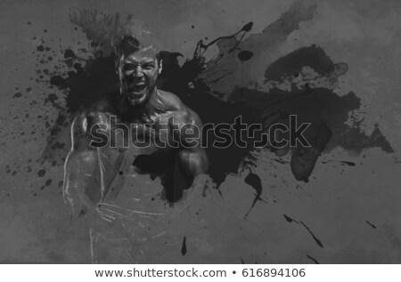 アスレチック · ハンサムな男 · 上腕二頭筋 · 筋肉 · デジタル - ストックフォト © amok