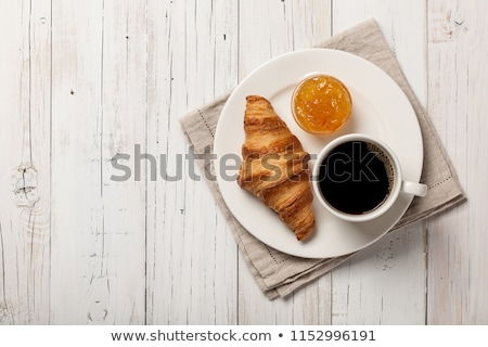 Cornetto jam caffè frutta tavola pane Foto d'archivio © M-studio
