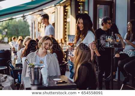 Сток-фото: лет · кафе · терраса · элегантный · мебель · цветы