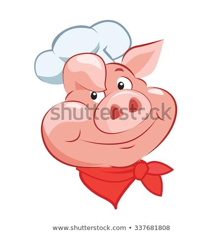 свинья повар меню талисман знак Сток-фото © Krisdog