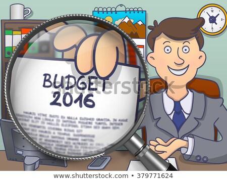 Budżet 2016 lupą gryzmolić przystojny biuro Zdjęcia stock © tashatuvango