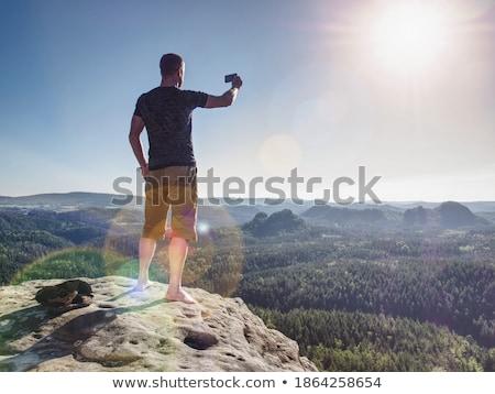 Nő fut hátizsák elvesz fotó okostelefon Stock fotó © blasbike