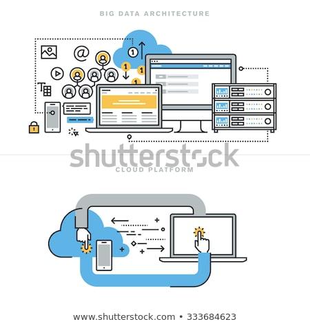 Leszállás oldal laptop nagy adat megoldások Stock fotó © tashatuvango