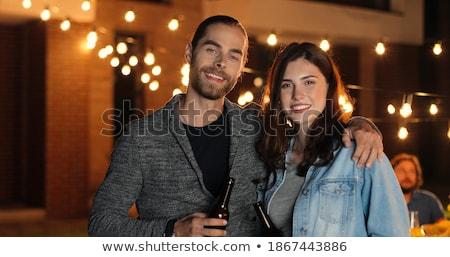 romantic couple standing together stock photo © feedough