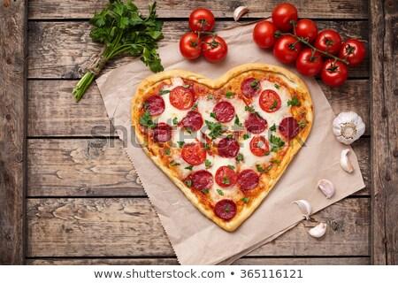pizza · biçim · kalp · ahşap · ahşap · peynir - stok fotoğraf © barbaraneveu
