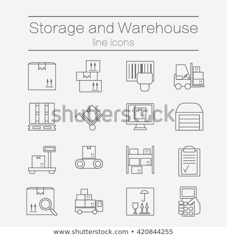 Big delivery box on pallet vector icon stock photo © studioworkstock